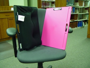 Lap desks available for check-out at the Circulation Desk.