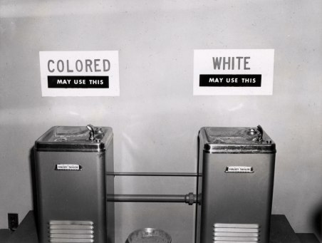 segregated water fountains - photo courtesy National Archives
