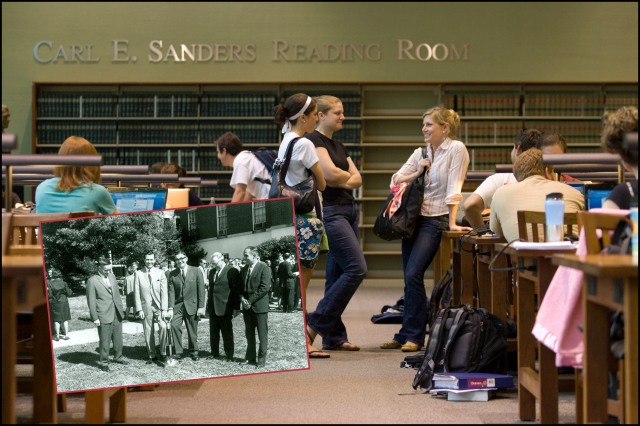 The Main Reading Room today with inset photo of then-governor Carl Sanders (2nd from left) on October 17, 1964 at the groundbreaking for the expansion of Hirsch Hall which would include a new, larger, law library.