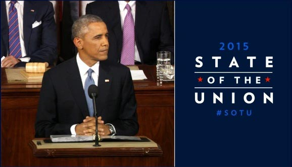 2015 State of the Union header with photograph of President Barrack Obama