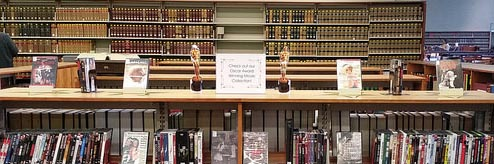 Academy Award winning DVD collection in the Law Library's Reference area
