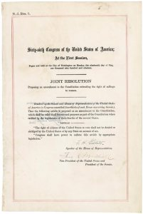 19th Amendment, Copy of the Joint Resolution, U.S. Congress