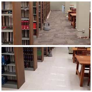 carpet before and after, top floor reading room