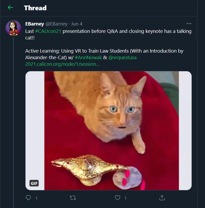 alexander the cat introducing VR tweet